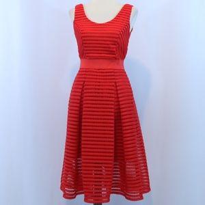 NY & Company Sleeveless Red Striped Mesh Dress